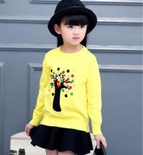 2017 spring children's clothes girls sweaters causal long sleeve thin cotton baby girls knitted sweaters for girls kids sweater(China)