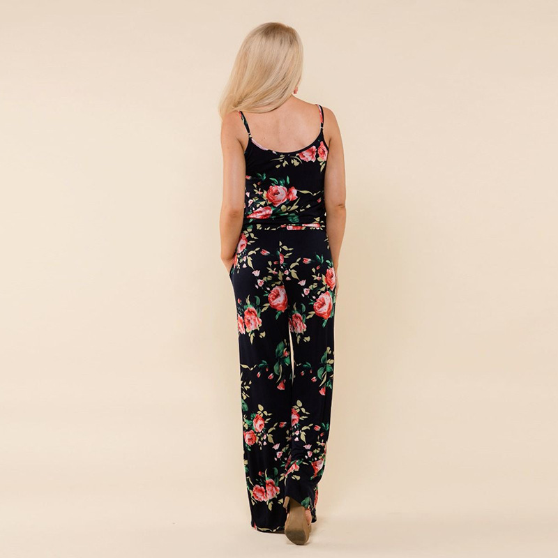 Spaghetti Strap Jumpsuit Women 2018 Summer Long Pants Floral Print Rompers Beach Casual Jumpsuits Sleeveless Sashes Playsuits 82