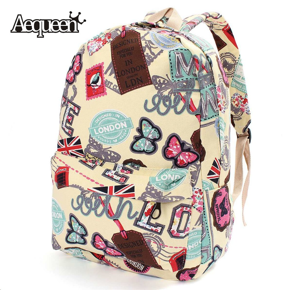 Women Girl Canvas School Backpacks Union Flag Butterfly Stamp Pattern Rucksack Travel Satchel Student Character Bookbag London<br><br>Aliexpress