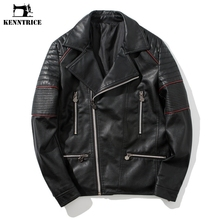 KENNTRICE Autumn Leather Jacket Men Black Quilted Punk Motorcycle Jacket Mens Hip Hop Brand Moto Jacket Coat Male(China)
