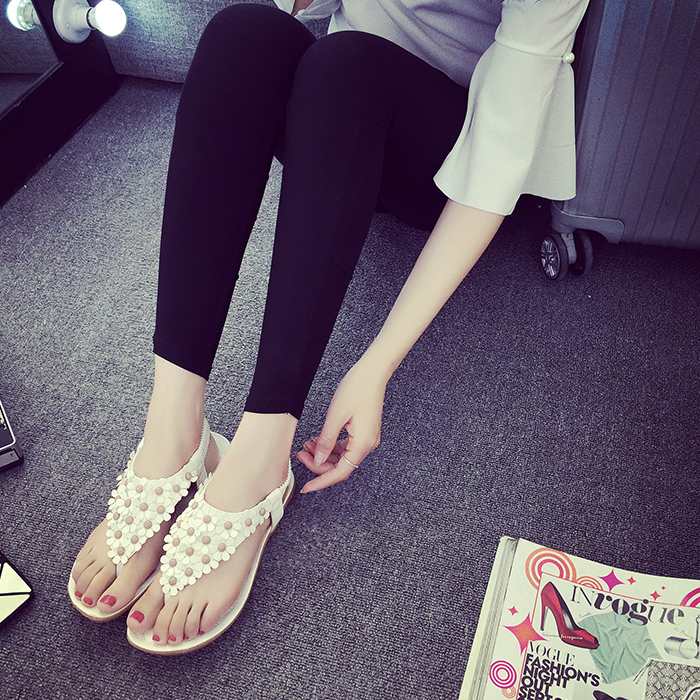Female Summer Flat With Flowers Thong Elastic Sandals  Women Bohemia Cool Toe Flat Student  Beige White Soft Leather Shoes<br><br>Aliexpress