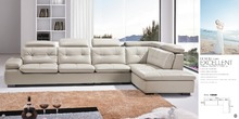 top graded cow leather sofa / living room sofa modern design sectional hot sale 9017 sofa+single chair+ chaise(China)