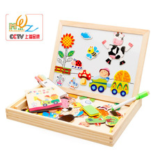 Wooden happy farm land, magnetic puzzle toys,Children's intelligence development education toys(China)