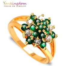 Yunkingdom crystal zircon crystal wedding Rings for women Cubic zirconia jewelry gold  ring