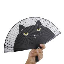 Women Cartoon Cat Folding Silk Fan Handheld Fan (Black) Hollow Out Hand Folding Fans Outdoor Dancing Wedding Party Favor(China)