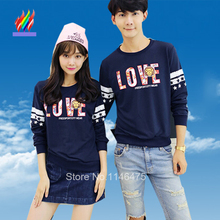 2015 New Arrival Hot Sale Korean Couple Clothes Lovers Blue Loose Pullover Cotton Letter Print Cute Matching Couple T Shirts 3XL