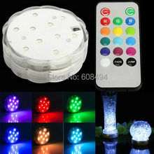 Remote controlled 10 smd RGB MultiColor Waterproof Wedding Party Vase submersible Floral led Base Light+ 20key Remote controller