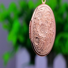 Flower Oval Can Open Photo Locket Necklaces Silver Gold Pendants Sweater Chain Necklace Jewelry(China)