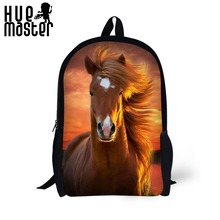 HUE MASTER School backpack children backpack horses pattern students large capacity can store 14 inch laptop bags leisure bags