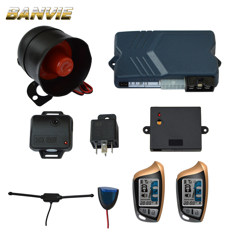 Two 2 Way LCD Remote Engine Start Car Alarm Securi...