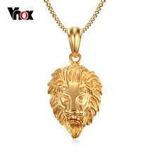 Vnox Lion Head Pendant Necklace Gold-color Men's Jewelry Stainless Steel Metal(China)