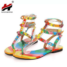 Large size 35-45 Summer Flat Jelly Sandals Sexy Rivets Studded Ankle Strap Woman Sandals Women Jelly sandals Roman Flats Shoes