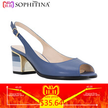 SOPHITINA Sandals Blue Handmade Genuine Leather Sexy Lady Peep Toe Sandals  Square Heel Buckle Strap Classics Shoes Woman S22 caf4eb13193c