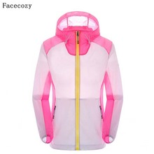 Facecozy Female Outdoor Hooded Summer Quick Dry Camping Jacket Women Patchwork Fishing Coat Ultra-Thin Jackets