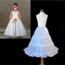 Abbille Hot New White Children Petticoat 2017 A-line 3 Hoops Crinoline Bridal Underskirt Wedding Accessories For Flower Girl(China)
