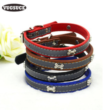 VUGSUCE PU Pet Dog Collar Leather Adjustable Personalized Bones Reflective Puppy Collar Necklace Starp for Small Dogs Chihuahua