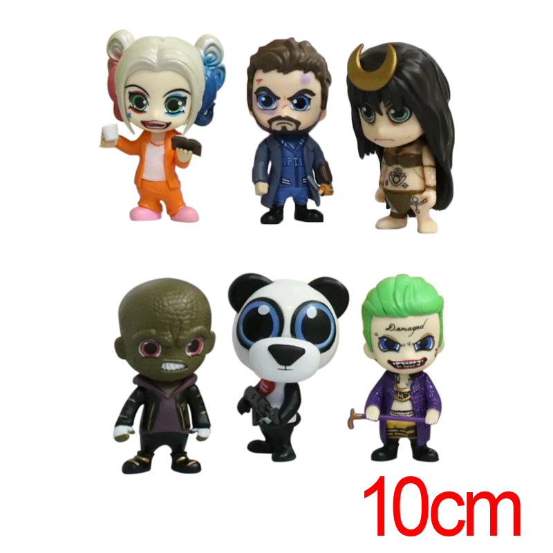 C&amp;F Suicide Squad Anime Action Figure Toys Anti Hero Harley Quinn Joker Panda 6 PCS 10 CM PVC Figures Toys For Gifts<br>