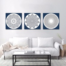 3 Pcs/Set No Framed Retro Fashion Folk Custom Mandala Flowers Decoration Wall Art Pictures Canvas Paintings For Home Decor Arts