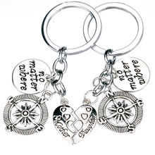 New 2PC No Matter where Heart Mother Daughter Compass Key Chain Ring Gifts For Family Jewelry Charms Keychain Women Mom Keyring