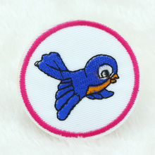 10PCS NEW 5CM Blue bird Design Iron On Sewing Embroidered Patches Cloth Badge Garment Motif Appliques Patch DIY Accessory(China)