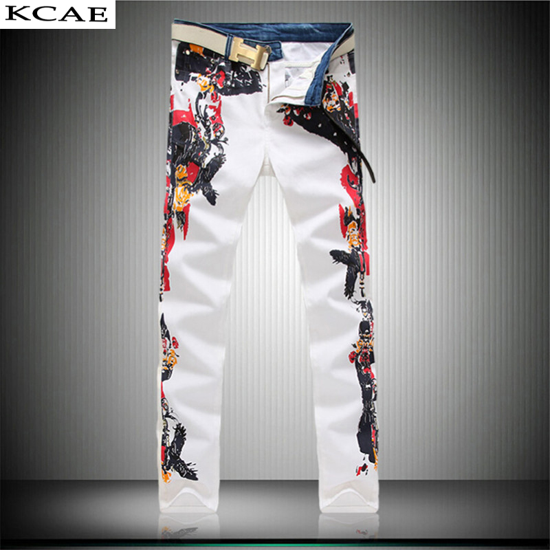 Big Size 28-40 White Printed Men Jeans Fashion Male Unique Cotton Jeans For Man Mens Casual Debris Printing Pants Одежда и ак�е��уары<br><br><br>Aliexpress