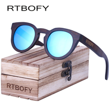 RTBOFY Wood Sunglasses Women Polarized Sun glasses 2017 Brand DesiReal Bamboo Eyewear Mirror Lenses Round Wood Sunglasses(China)