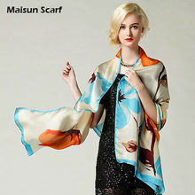 Maisun Fashion 100% silk 10mm georgette 180X70cm ladies shawl scarf(China)