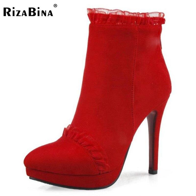 RizaBina Size 33-42 Sexy Women Ankel Boots Zipper Ruffle Platform High Heel Boots Warm Shoes For Sexy Women Short Botas Footwear<br>