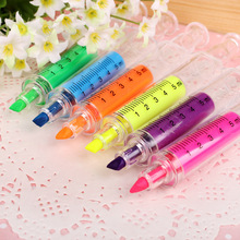 Hot Sale Syringe Highlighter Pen Cartoon Cute Korean Creative Gifts wholesale Colorful Marking Oblique Students School Use PL(China)