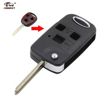 DANDKEY 3 button remote Folding Flip Key Shell Car Case For Lexus RX300/350/400h SC430 GX470 LS400 GS300 ES330 LX470 With LOGO