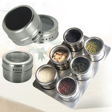 6pcs Stainless Steel Magnetic Spice Jars Seasonings Containers Flavor Condiments Storage Box With Holder Rack Kitchen Accessorie
