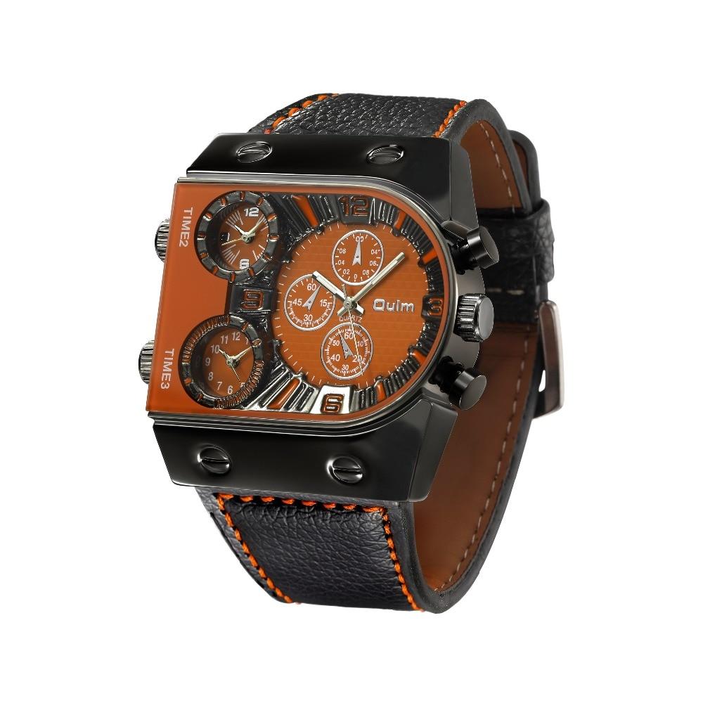 OULM Sport Watch Men Quartz Analog Clock 3 Time Zone Sub-dials Design Big case Oversize Fashion Black Wrist Watches relogio 20
