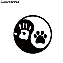 Langru Hot Sale Ying And Yang Dog Or Cat Paw Hand Print Decal Sticker Logo Car Stying Decorative Jdm(China)