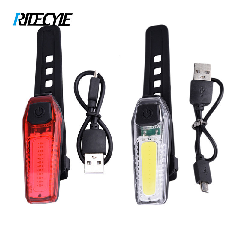 Bicycle Lights Night Mountain Cycling Bike Taillights USB Charging Warning Front Rear Light High Brightness COB Bright Beads