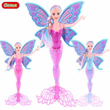 Oenux Purple/Pink/Blue Swimming Mermaid Doll Toy Fashion Ariel Moxie Princess Mermaid Dolls Toys For Girls Xmas Birthday Gift(China)