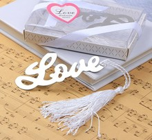 10pcs/lot Ribbon Metal Love Words Bookmark Wedding Favors Party Gifts Tassel Book Marks(China)