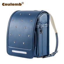 Coulomb Kid Backpack For Boys And Girl School Bag PU Rivets Hasp Randoseru Orthopedic Messenger Book Bags Japan 7 Color 2017(China)