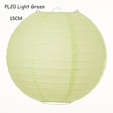 15cm(6inch) 15pcs/lot Light Green Round Wish Rice Paper Lamps Lanterns for Birthday Parties Ornament Wedding Holiday House Decor
