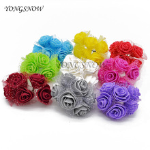 72Pcs/lot 3.5CM Artificial PE Rose Small Foam Flowers Wedding Bride Bouquet DIY Handcraft Wreath Wedding Party Decor Supplies 9Z