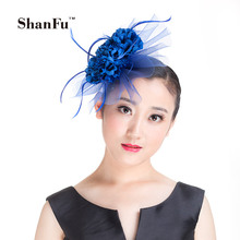 ShanFu Women Fancy Artificial Flower Accent Mesh Fascinator Feather Wedding Hair Accessoires Bridal Tea party Ivory SFD2812