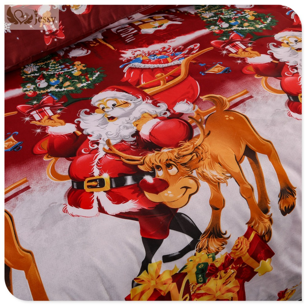 Great For Christmas, Set 4Pcs Christmas Santa Clause, 3D Bedding Set Duvet Cover Set,Sheet, Pillowcase, Sham Covers 23