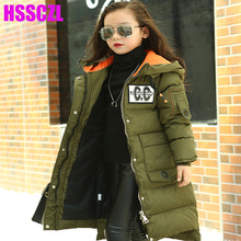 HSSCZL Girls Down jackets Winter 2017 Brand Thicker girl down coat Hooded collar Long Style child kids outerwear overcoat parkas(China)