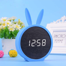 Creative LED Wooden Bells Mute Alarm Clocks Calendar Clocks Perfection Rabbit Silicone Electronic Wooden Watches(China)