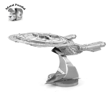 3 D Metal Puzzles Miniature Model DIY Jigsaws Sci-Fi Cartoon Model Silver  Gift for Children Star Trek Enterprise 1701 D