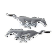 Pair 3D Metal Emblem Decals Car Body Fender Badge Sticker For Ford Mustang Pony Running Horse #6687
