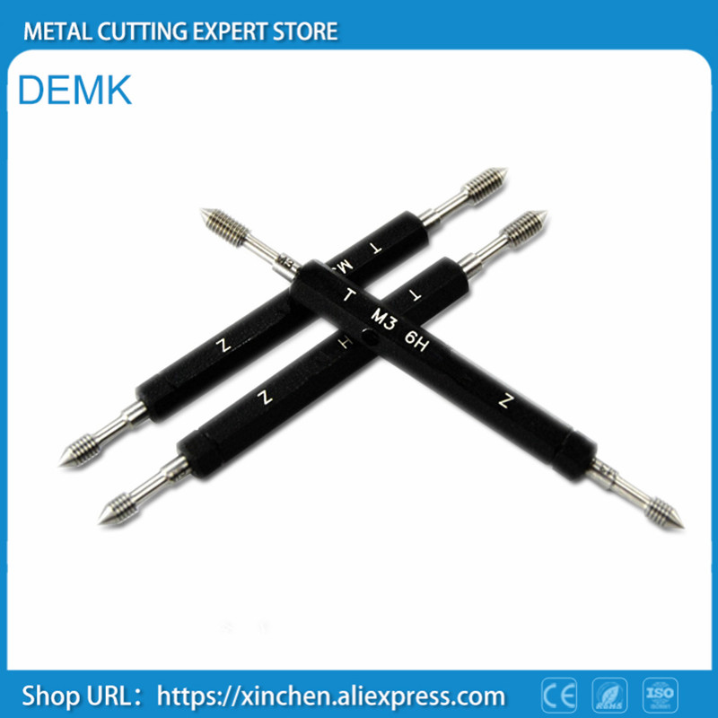 MeterTo 2pcs Metric Thread Plug Gage Calibration Measuring Gauge Tool M3.5x0.6-6H TZ GO NOGO
