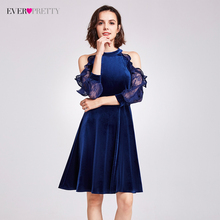 Sexy Halter Cocktail Party Dresses Ever Pretty AS05896 Elegant Velvet Ruffles Lace Sleeves Dresses 2017 Classical Cocktail Dress(China)