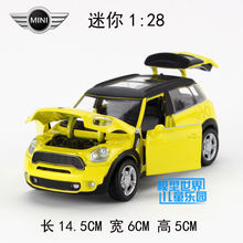 Gift for boy 14.5cm 1:28 simulation MINI COOPER car vehicle alloy model acousto-optic pull back game toy(China)
