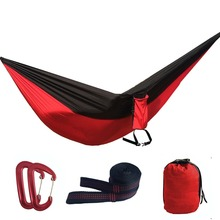 Assorted Color Parachute Nylon Hammock,Outdoor Camping Hammocks Double Person Portable Swing Hammock