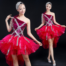 Fuchsia glitter Singer Performance dress female DS costume jazz dance clothes modern dancing dress costumes nightclub bar dress